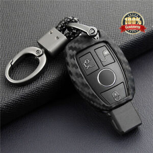 For Mercedes-Benz Carbon Fiber Smart Car Key Case Cover Fob Holder Accessories