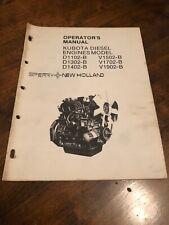 Kubota D1102-B D1302-B D1402-B V1502-B V1902-B Operators Manual New Holland