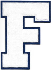 """6 """" Pouce Grand Blanc sur Bleu Bloc Letterman's Varsity Lettre F Feutre Patch"""