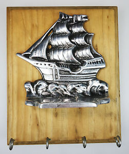 Wall Mount Key Rack Holder Tall Sailing Ship Nautical Ocean Sea