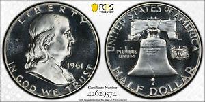 1961 50c DDR FS-802 Silver Proof Franklin Half Dollar PCGS PR 67