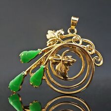 Lovely, Solid 14K Yellow Gold & Jade Floral Motif Estate Pin, Brooch, Pendant