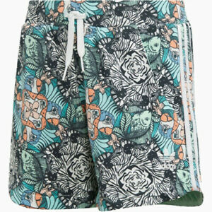 New Adidas Originals Girls Zoo Animal-Print Shorts Multi Size M L MSRP $35