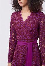 Diane von Furstenberg Shaelyn Lace Long-Sleeve Wrap Dress Size:4 $498 NWT