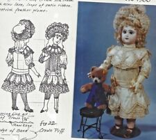 """New listing 17-18"""" &19-20""""Antique French Bebe Jumeau Doll@1885-1900 Dress Hat Pattern German"""