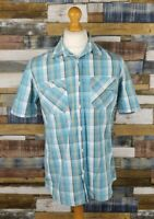 Marks and Spencer Blue Check Cotton Short Sleeved Mens Casual Shirt Size M