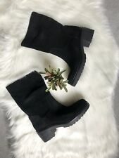New Michael Kors Black Suede Chunky Boots, Size 10