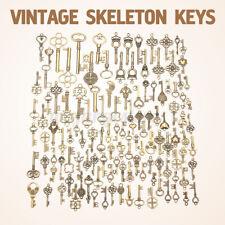 AU 125Pcs Bronze Keys Vintage Royal Antique Old Look Skeleton Heart Bow