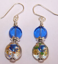 Blue and Gold Flowers Japanese Tensha Beaded Sterling Silver Earrings