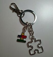 Autism Awareness Double Puzzle Key Chain