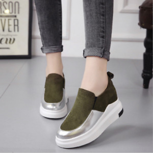 Womens Casual Sneakers Slip On Pumps Loafers Hidden Wedge Heels Trainers Shoes
