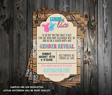 Lures or Lace - Gender Reveal - Baby Shower Invitations - 15 Printed W/envelopes