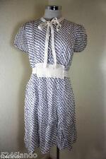 D&G Dolce & Gabbana Navy Anchors & Stars Printed Romantic Silk Dress Sz.38 3 4 5
