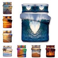 Sea Beach Sunset 3D Design Bedding Set 3PC Of Duvet Cover Pillowcase Double King