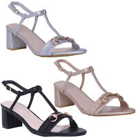 NEW LADIES SANDALS T BAR ANKLE STRAP MID BLOCK HEEL SANDAL EVENING PARTY SHOES