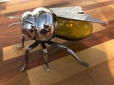 Mappin Webb Bee Honey Pot Antique Silver Plate Art Deco Amber Green Glass Body