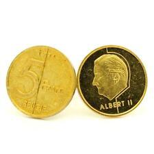 """Boutons de manchettes Pièce de Monnaie Authentique """" Belgique """" 5 francs"""