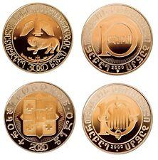 2x Georgia 10 Lari 2000 + 3000 TOP Bi-Metallic Collector Coins