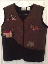 Vtg Wool Christmas Sweater Vest Medium Holiday Winter Xmas Knit M Women's Xmas