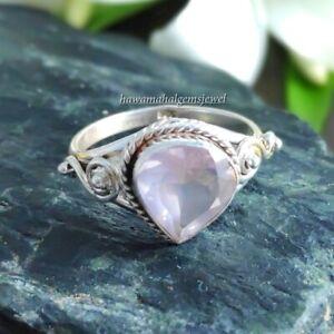 Rose Quartz Silver Ring 925 Sterling Handmade Rings Natural Heart Gemstone Solid