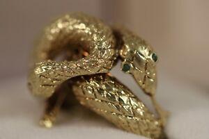 HEAVY 16.63G WIDE 14K YELLOW GOLD EMERALD DIAMOND 2 SNAKE VIPER BOA COBRA RING
