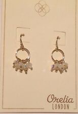ORELIA MINI-HOOP EARRINGS ~RRP £12~ OPAL COLOUR BEAD CLUSTER JEWELLERY ~9516~