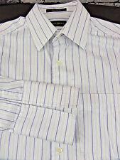 Joseph Abboud Blue White Striped LS Men's Dress Shirt size 15 32/33 French Cuffs