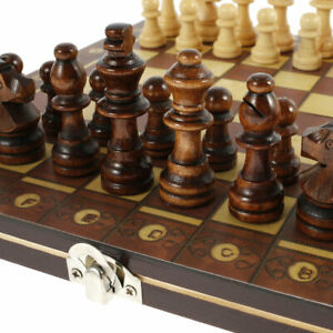 Magnetic Large Chess Wooden Set Chessboard Pieces Sling Puck Board Game Foldable
