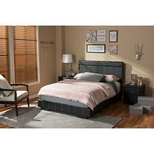 Solo Modern and Contemporary Black Faux Leather Full Size Platform Bed NEW