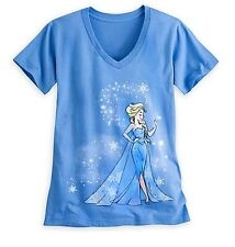 Disney Store Elsa FROZEN V Neck T Shirt Womens Size XS 2 Princess Adult Gift NWT