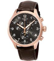 Authentic Tissot Chrono XL Classic Black Brown Leather Men Watch T1166173605701