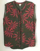 A New Day~ Womens Size XL Sleeveless  Blouse Green Leaf Print  Crochet Top