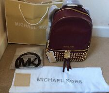 Genuine Michael Kors Medium Rhea Studded Merlot Backpack Rrp £390
