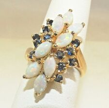 Fire Opal & Sapphire Ring Yellow Gold Vermeil over .925 Sterling Silver ~ Size 6