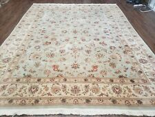 8' X 10' Vintage Handmade Oriental Floral Wool Rug Silk Accent Taupe Green Nice