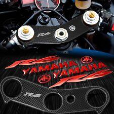 "Handle Bar Yoke Cover Carbon Look+Chrome Red 8"" Logo+Emblem Sticker 06-16 YZF R6"