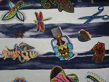 "Designers Guild Fabric ""Santaria"" Indigo 3.5 METRES Linen  Christiian Lacroix"