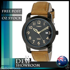 Timex Men's Brown Leather Strap Watch, Indiglo, Date, T2P133 Free Post