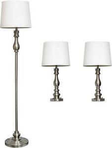 Elegant Designs Brushed Steel Three Pack Lamp Set (2 Table Lamps, 1 Floor Lamp)