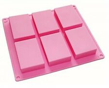 HOSL 6cavity Plain Basic Rectangle Silicone Mould for Homemade Craft Soap Mold,
