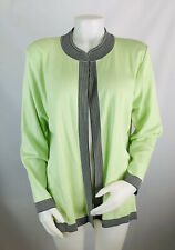 Exclusively Misook XL Womens Jacket Light Green White Trim Open Front Blazer NEW
