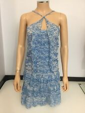 Isabel Marant Dress Blue & White 100% Silk Summer Size 36 Uk 8 Women's Vgc