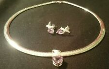 AMETHYST & Diamond Accent 925 S.S. Romantic Collection NECKLACE & EARRING Set