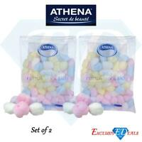 Athena Coloured Cotton Wool Balls Make Up Nail Polish Remover 100 Pack x 2