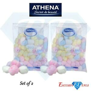 Athena Coloured Cotton Wool Balls Make Up Nail Polish Remover 100 Pack x 2