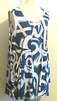 Michael Tyler women's XL long tunic loose fit blouse blue white wearable art top