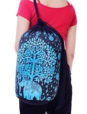 Indian Elephant Blue Backpack Bohemian Hippie Festival Hobo Bag Drawstring Bag