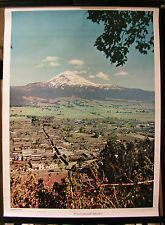 Bonito antiguo schulwandbild popocatepetl volcán El pompis méxico américa 52x70cm