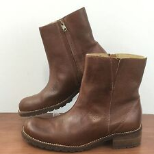 LL BEAN Brown Distressed Leather Ankle Boots Side Zip Pebbled Leather Women's 8M