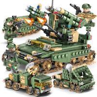 643pcs 4in1 Militär Panzer Modell mit WW2 Soldat Figuren Bausteine Spielzeug